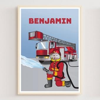 Affiche personnalisée pompier avec photo