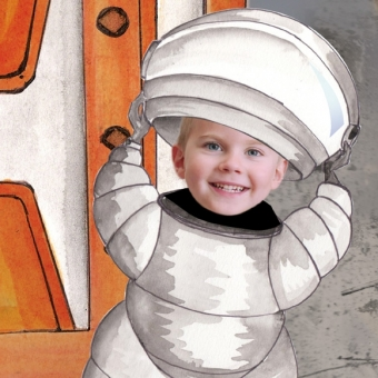 Livre personnalisé enfant avec photo sur l'espace et la lune