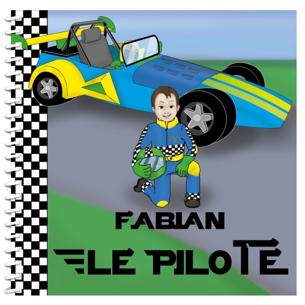 Livre personnalisé enfant : pilote de course